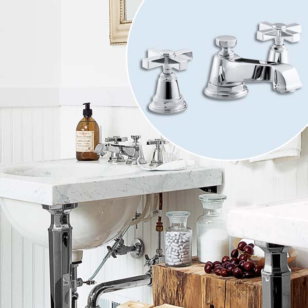 get this look updated victorian style bath with cross handle faucet on sink