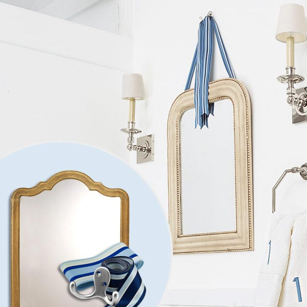 get this look updated victorian style bath with arched mirror and ribbon hanger