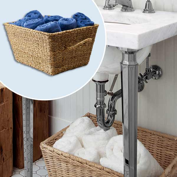 get this look updated victorian style bath with woven laundry basket