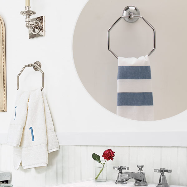 get this look updated victorian style bath with octagon towel ring and striped hand towel
