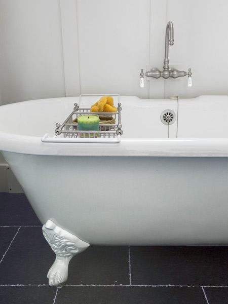 after attic remodel turned master bath with claw foot soaker tub