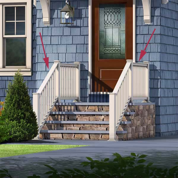 proposed railing of the cottage style in the photoshop remodel to a cape style