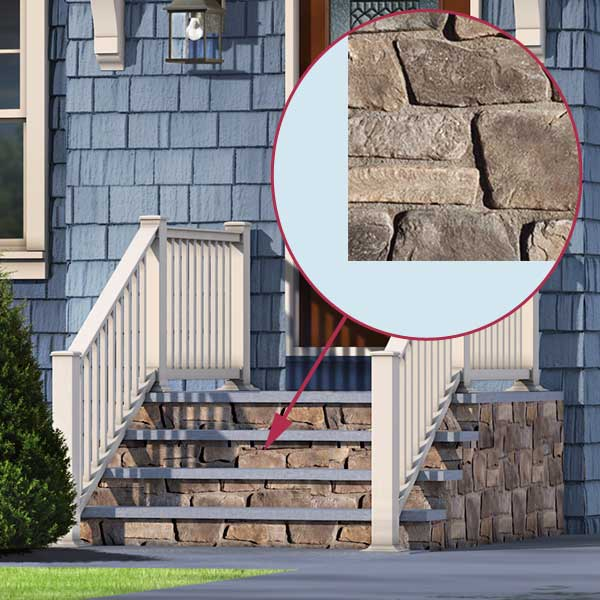 proposed Stone Veneer of the cottage style in the photoshop remodel to a cape style