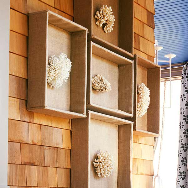upgrade outdoor room, porch with shadow boxes with coral clusters displayed inside