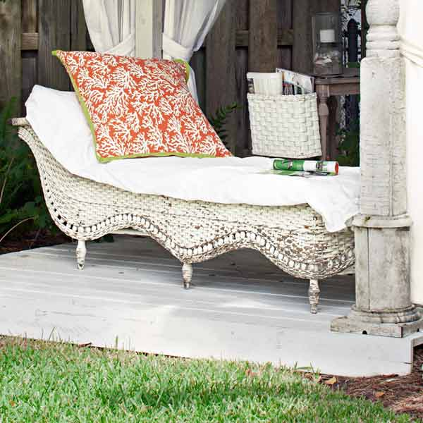 upgrade outdoor room, freestanding structure with antique chaise