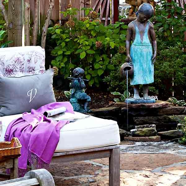 upgrade outdoor room, pergola with stone floor, statue fountain