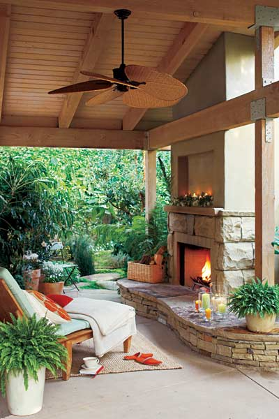 upgrade outdoor room, outdoor room with freestanding prefab fireplace, hearth