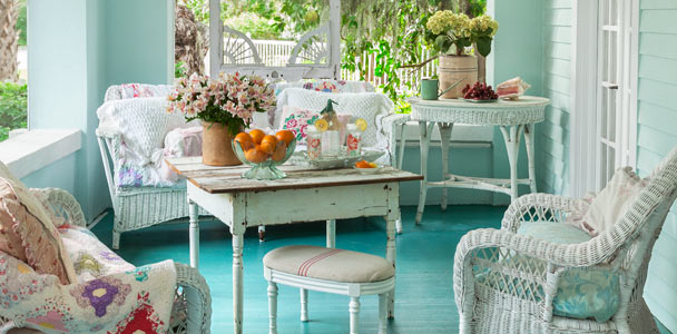 upgrade outdoor room porch with bluegreen walls and floor, white ceiling, vintage-style furniture