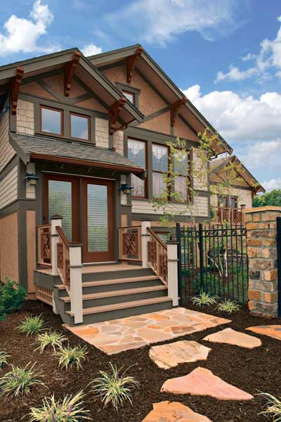 ochre, sand and sage exterior paint on craftsman style bungalow