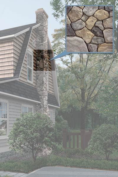 a 1930s Dutch Colonial after the Photoshop redo with focus on the stone veneer