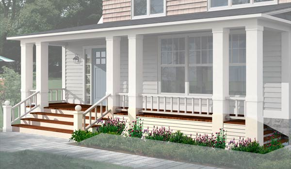a 1930s Dutch Colonial after the Photoshop redo with focus on the front porch decking