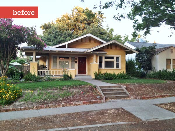photo of a Craftsman bungalow before a Photoshop redo