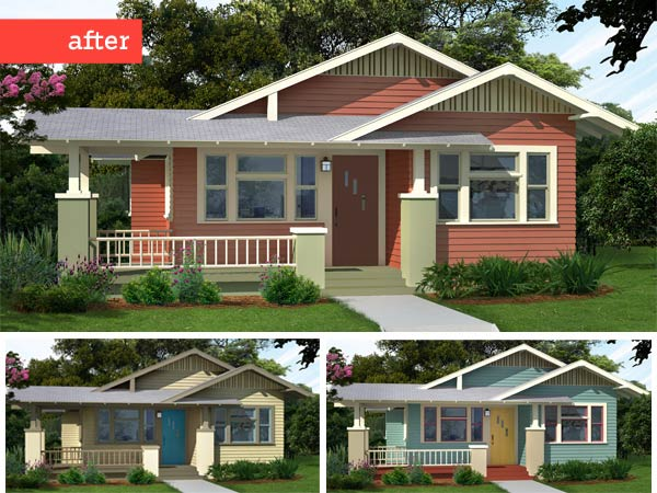 3 illustrations of a Craftsman bungalow after a Photoshop redo