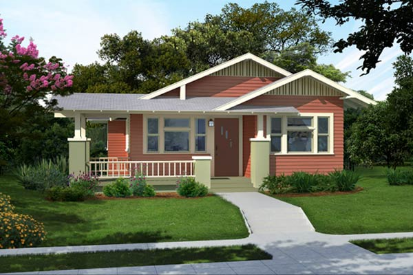 illustration of a Craftsman bungalow after a Photoshop redo with muted red palette