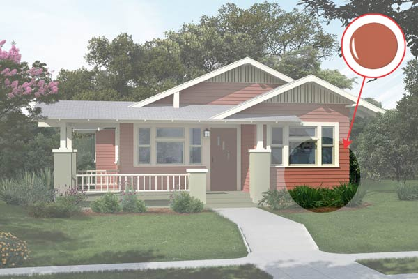 illustration of a Craftsman bungalow after Photoshop redo, inset of Audubon Russet paint dab