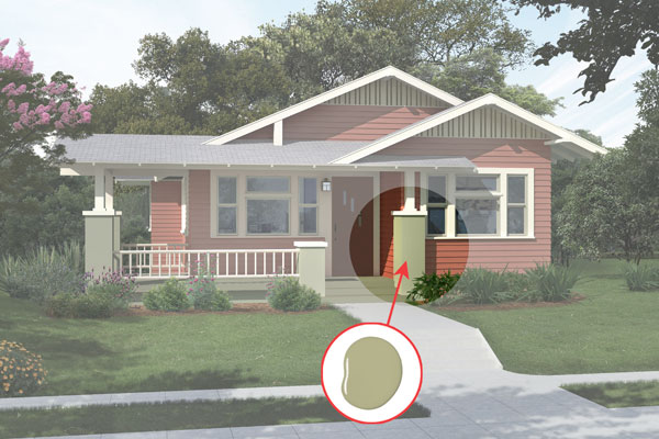 illustration of a Craftsman bungalow after Photoshop redo, inset of Georgian Green paint dab