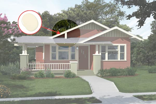 illustration of a Craftsman bungalow after Photoshop redo, inset of Monterey White paint dab