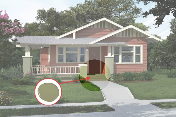 illustration of a Craftsman bungalow after Photoshop redo, inset of Tate Olive paint dab