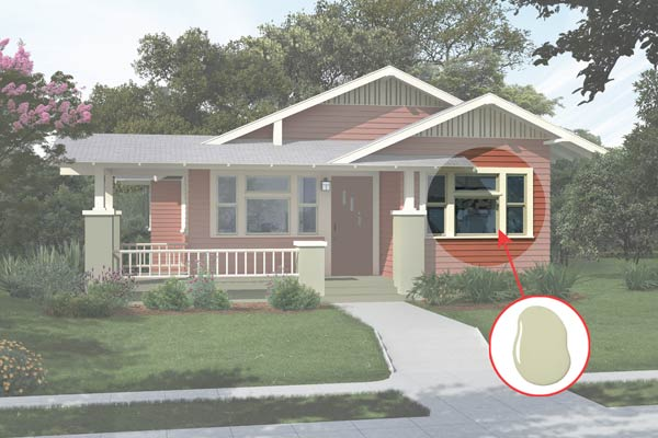 illustration of a Craftsman bungalow after Photoshop redo, inset of Guilford Green paint dab