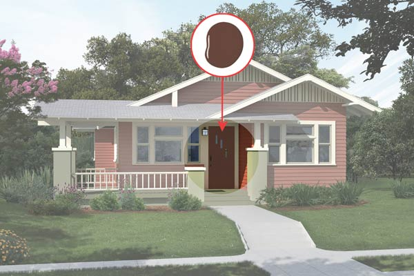 illustration of a Craftsman bungalow after Photoshop redo, inset of Hasbrouck Brown paint dab