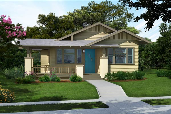 illustration of a Craftsman bungalow after Photoshop redo with rich tan palette