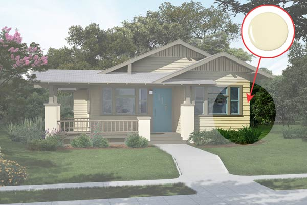 illustration of a Craftsman bungalow after Photoshop redo, inset of White Cliffs paint dab