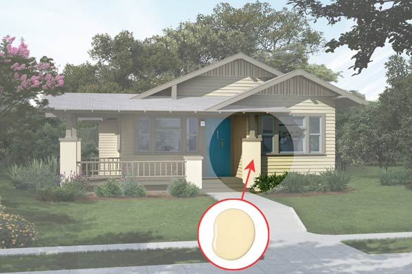 illustration of a Craftsman bungalow after Photoshop redo, inset of Mojito paint dab