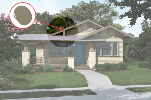 illustration of a Craftsman bungalow after Photoshop redo, inset of Mossy Bank paint dab