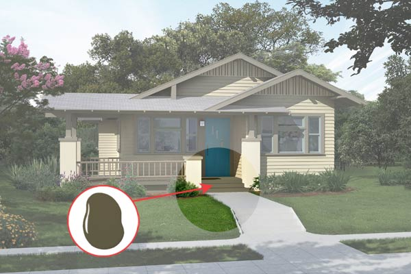 illustration of a Craftsman bungalow after Photoshop redo, inset of Alligator Skin paint dab
