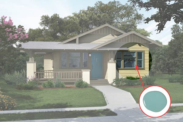 illustration of a Craftsman bungalow after Photoshop redo, inset of Lap Pool Blue paint dab