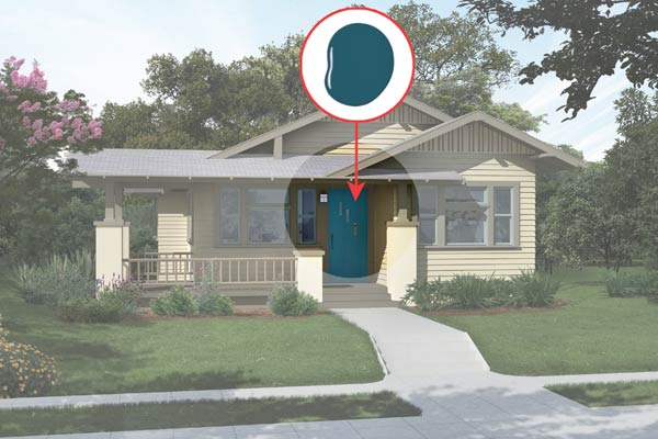 illustration of a Craftsman bungalow after Photoshop redo, inset of Bermudan Blue paint dab