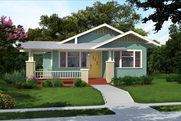 illustration of a Craftsman bungalow after Photoshop redo with cool blue palette