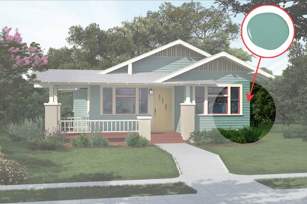 illustration of a Craftsman bungalow after Photoshop redo, inset of Composed paint dab