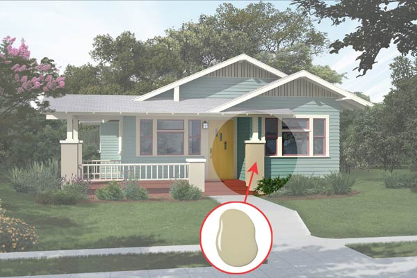 illustration of a Craftsman bungalow after Photoshop redo, inset of Favorite Tan paint dab