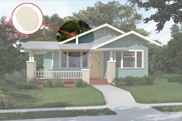illustration of a Craftsman bungalow after Photoshop redo, inset of Nacre paint dab