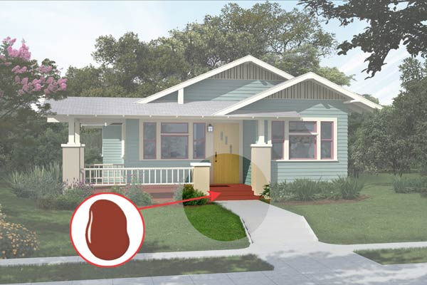illustration of a Craftsman bungalow after Photoshop redo, inset of Fired Brick paint dab