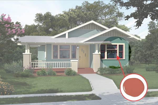 illustration of a Craftsman bungalow after Photoshop redo, inset of Foxy paint dab