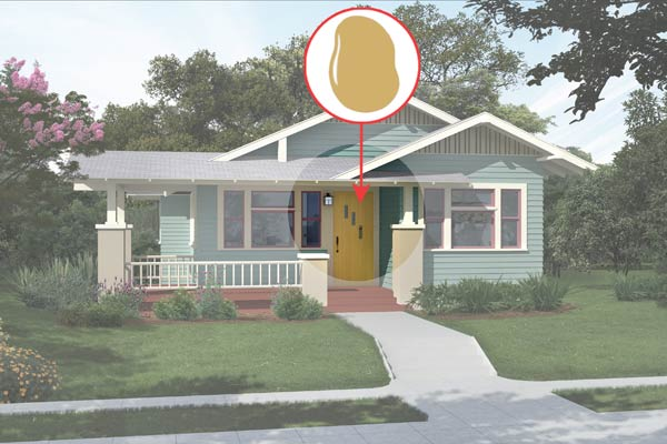 illustration of a Craftsman bungalow after Photoshop redo, inset of Mannered Gold paint dab