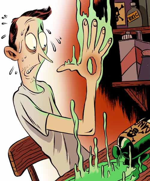 iilustration of man burning a hole in his hand from accidental chemical spill, homeowner survival skills