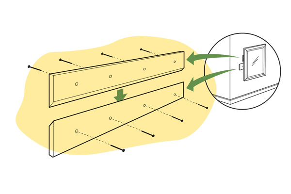 diagram for how to hang a cabinet on a wall, homeowner survival skills