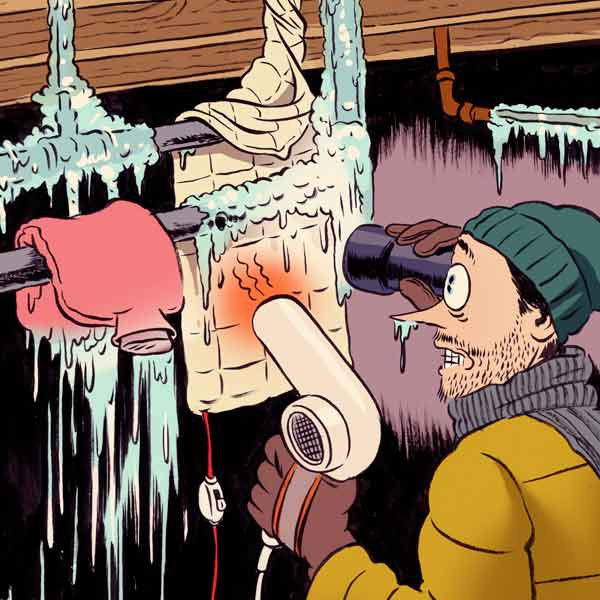 illustration of a man thawing a frozen pipe, homeowner survival skills