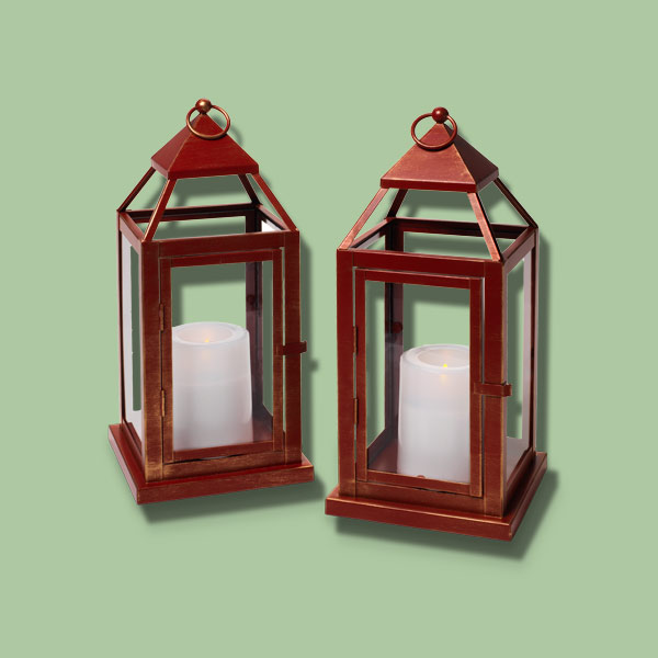 red brushed metal lanterns for lighting front entry steps, fast fixes