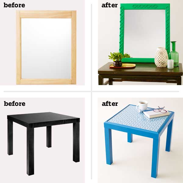 before/afters of furniture face-lifts (mirror and end table)