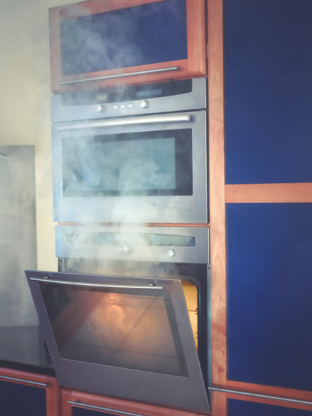 smoke coming out of double oven, holiday disaster