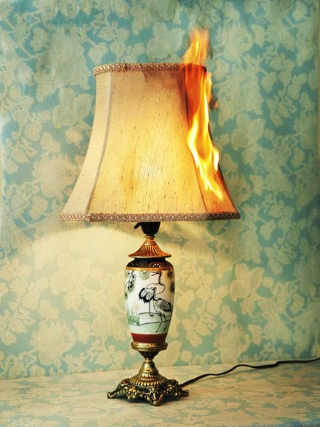 lampshade on fire, holiday disaster