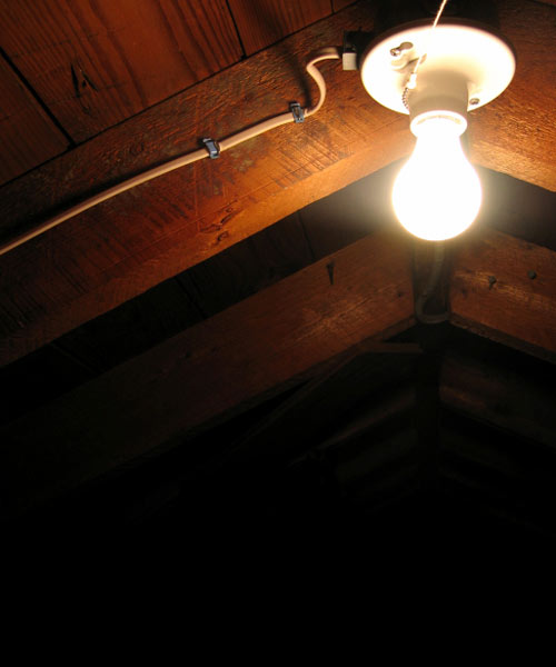 creepy attic light, homeowner haunted house noises