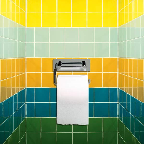 toilet paper holder on wall with multi-colored tile