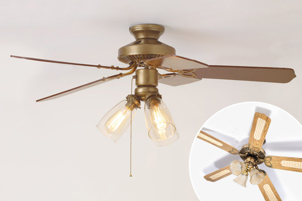 newly refurbished ceiling fan with inset of ceiling fan before