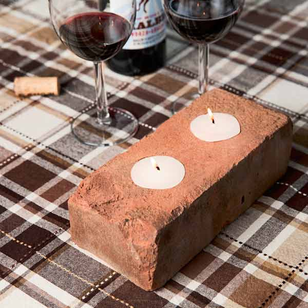 brick used as tealight holder, 10 uses for bricks