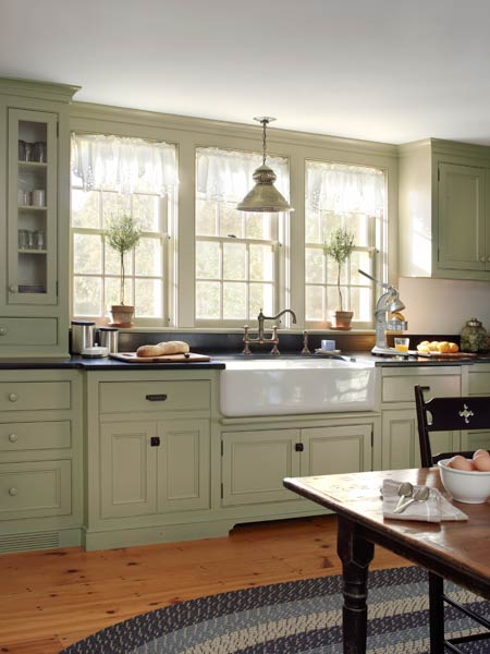 Spacious period kitchen farmhouse addition what 39 s old for Grey green kitchen cabinets
